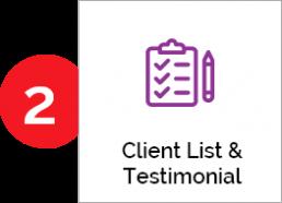 Client list & Testimonials